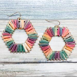 🆕 •FINAL PRICE• Rainbow Raffia Hexagon Earrings
